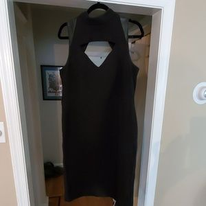 NWT Black Ann Taylor Dress w/Faux Leather size 14